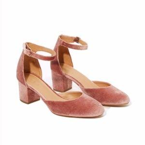 Loft Pink Velvet Block Heel Closed Toe Size 10M